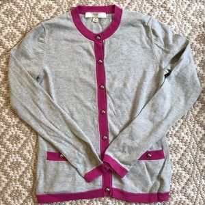 Coach Cotton/Silk Grey/Pink Cardigan XS